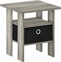 FURINNO 11157GYW/BK End Table Bedroom Night Stand W/Bin Drawer, French Oak Grey/Black, Small