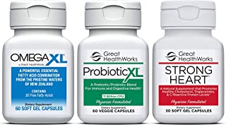 Bundle 3 Pack - Omega XL 60 Count Joint Pain Omega 3 Supplement + Probiotic XL with 11 Billion CFU 60 Count + Strong Heart 30 Count Omega 7