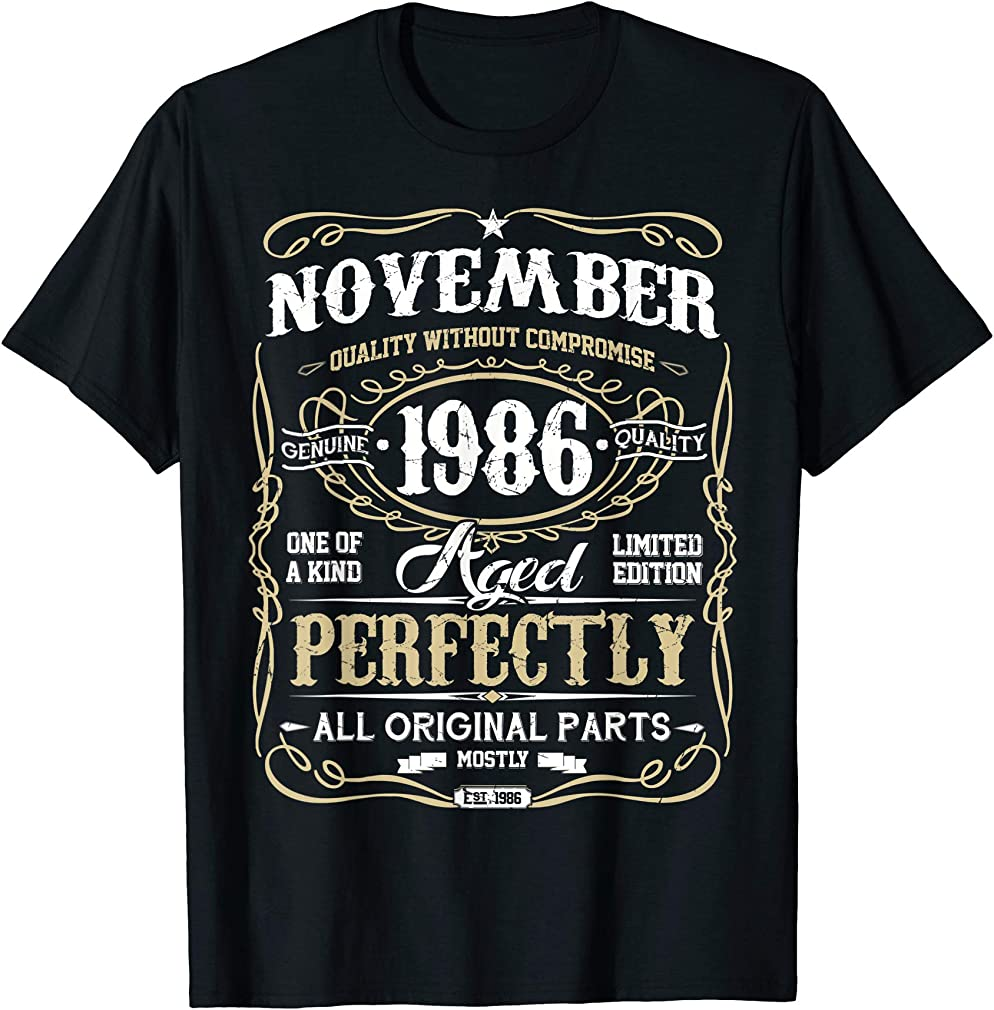 Classic 33rd Birthday Gift Mens Womens Vintage November 1986 T-shirt