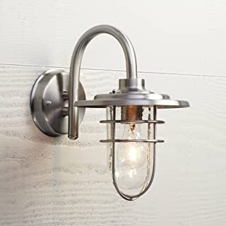 Stratus Industrial Outdoor Wall Light Fixture Brushed Nickel 12 3/4