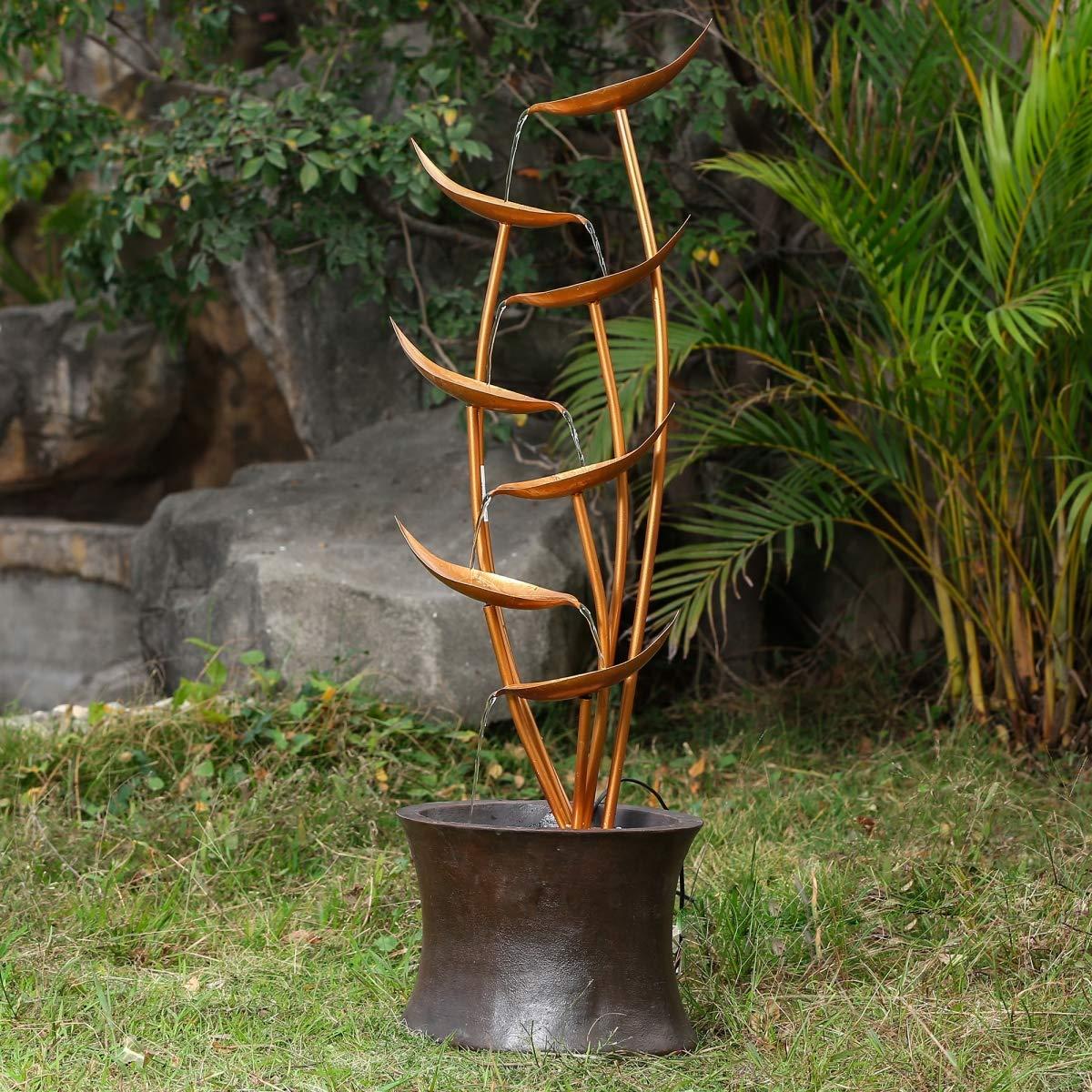 Amazon Com 43 Rain Forest Bronze Metal Leaves Cascading Polyresin Patio Fountain Garden Outdoor