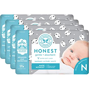 Newborn Diapers Pandas Print The Honest Company Diapers 128 Count Hypoallergenic Plant-Derived Materials TrueAbsorb Technology Size 0