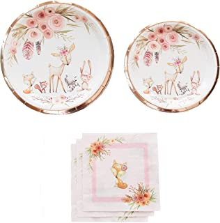 Woodland Creatures Baby Shower | Stunning Real Rose Gold Foil | Serves 16 | Woodland Party Supplies | Woodland Baby Shower or Birthday for Little Girl (Plates and Napkins ONLY)