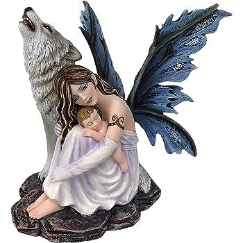 042 445 Les Alpes Orig Fata IVEL con Tazza 16cm Collezione Amy Brown Statuetta Figura Dipinta a Mano