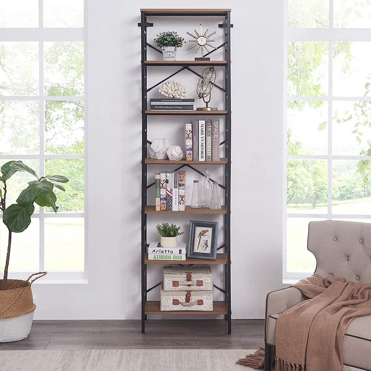 Industrial Open Bookcase famous 7-Tier Tall Storage gift Display Bookshelf