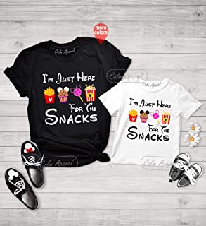 I'm Just Here for The Snacks Shirt, Funny Snacks Graphic Tee, Minnie Snacks Tee, Family Mathing T-Shirt