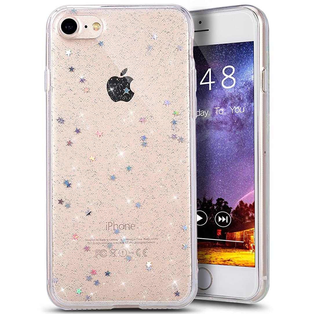 PHEZEN iPhone 8 Case,iPhone 7 Case,iPhone 7 Bling Glitter TPU Case, Shiny Sparkling Glitter Hexagonal Star Flexible Soft Rubber Gel Clear TPU Cases Silicone Back Case for iPhone 8 /iPhone 7 4.7
