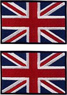 Ebateck England British Union Jack Flag Patch, 2x3 inch, UK Great Britain Iron On Patches, Sew On Emblem 2 Pack