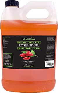 GreenIVe - Rosehip Oil - Rosa Canina - 100% Pure - Cold Pressed - Virgin - Exclusively on Amazon (128 Ounce (1 Gallon))