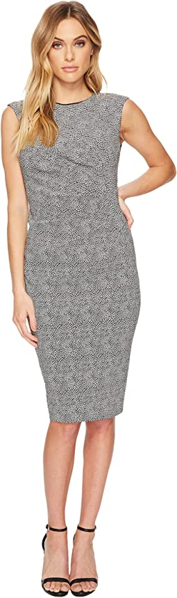 Spotted Stretch Jacquard Sheath Dress
