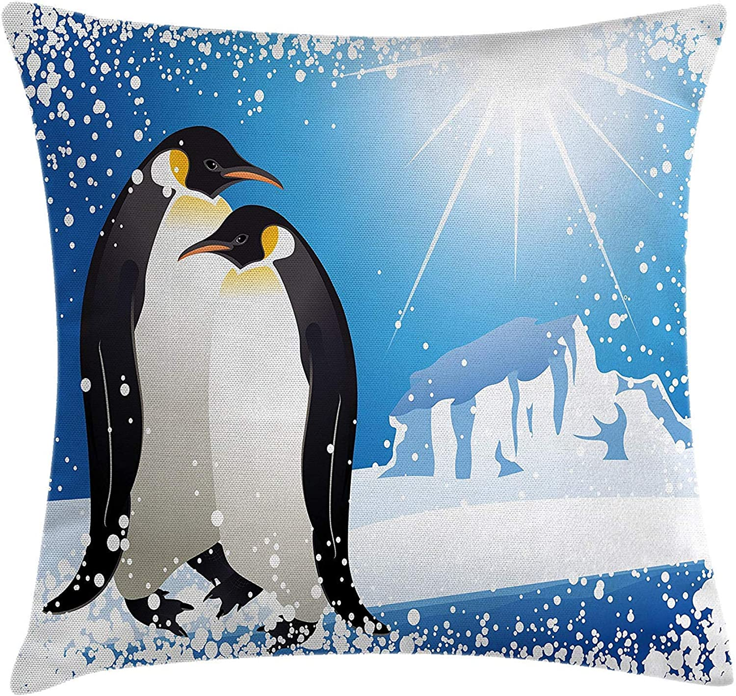 Winter Throw Pillow Cushion Cover,20 x 59 inch Two Sides, Cute Penguins on Iceland at Arctic Snowy Frozen Climate Kids Illustration,Pillow Sham Cases for Couch Sofa Chair Cushion