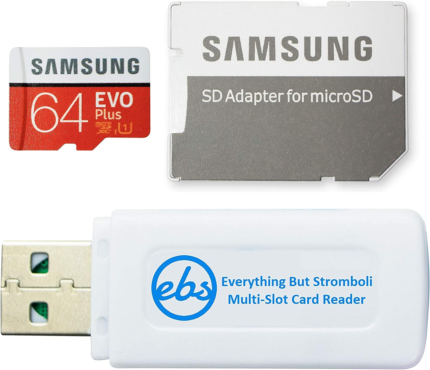 Samsung 64GB Micro SDXC EVO+ Plus Memory Card for Samsung Phone Works with Galaxy S20, S20+, S20 Ultra 5G, S10 Lite Phone (MB-MC64HA) Bundle with (1) Everything But Stromboli MicroSD Card Reader