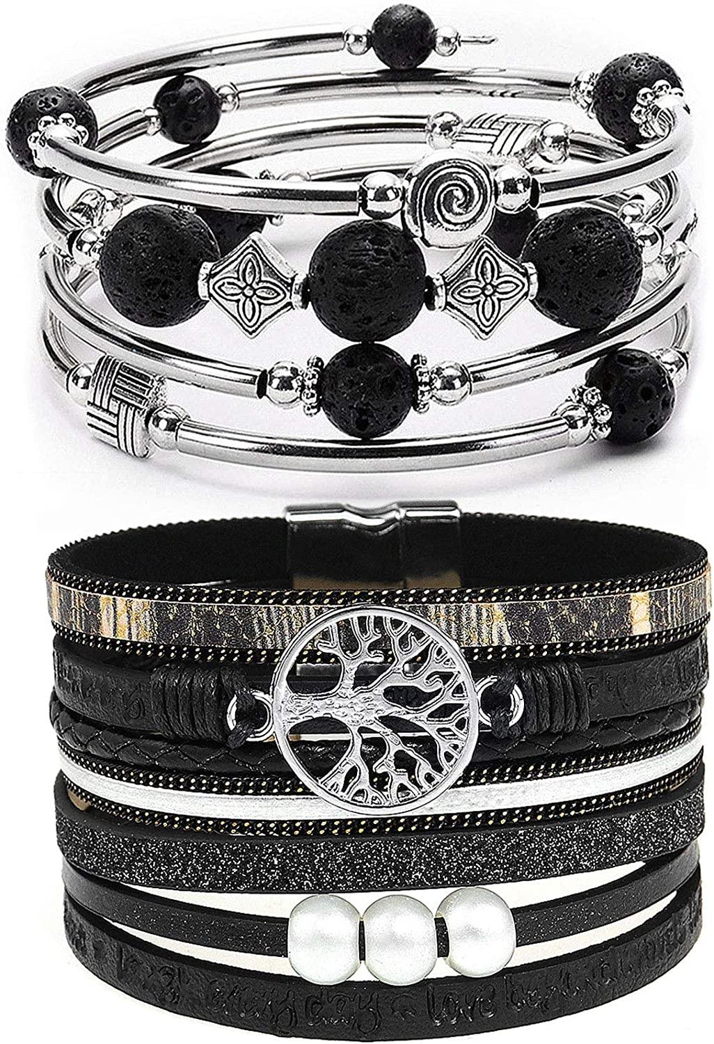 BAOKELAN 2 Pieces Tree of Leather Bracelets 2021 autumn and winter Super beauty product restock quality top! new Life Stackable Wrap
