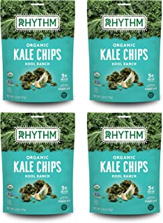 Rhythm Superfoods Kale Chips, Kool Ranch, Organic and Non-GMO, 2 Ounce (Pack of 4), Vegan/Gluten-Free Superfood Snacks, Packaging May Vary