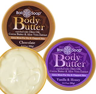 Body Butter Chocolate and Vanilla Honey, Hand Body Skin Moisturize by Bali Soap, Gift 2 pc Set - 3.1 Oz each
