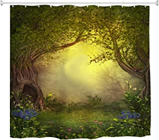 BROSHAN Mystic Forest Tree Shower Curtain Fabric, Enchanted Forest Fantasy Nature Landscape with Flower Green Jungle Print Fabric Waterproof Bathroom Decor with Hooks, 72 x 72 inch