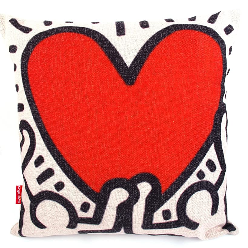 Kingla Home Decorative Throw Pillow Covers 18 X 18 Inch Square Cotton Linen Keith Haring's Graffiti-Art Printing Pillow Cases