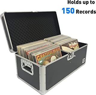 EasyGo Products RSC-M Classic Acts Vinyl Record Album Storage Case – Aluminum Lp Record Player Crates for Records (Holds 150 Records)