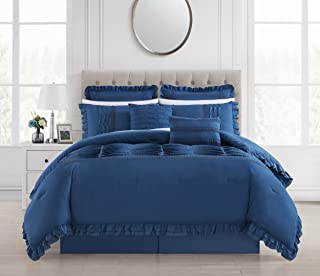 Chic Home 8 Piece Comforter Set Ruffled Pleated Flange Border Design Bed Skirt Decorative Pillows Shams Included, Blue, Queen