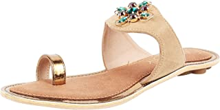Catwalk Women's Embellished Toe Ring Slip Ons