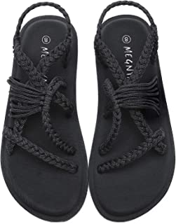 MEGNYA Flat Sandals for Women with Adjustable Straps, Comfortable Yoga Mat Foam Walking Sandals, Anti-Skid and Lightweight...