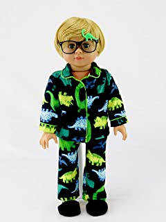 American Fashion World Green Yellow Dino Pajamas for Boys Made for 18-inch Dolls fits 18-inch American Dolls and More