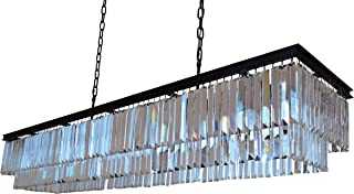 D'Angelo 60 Inch Clear Glass Crystal Prism Chandelier