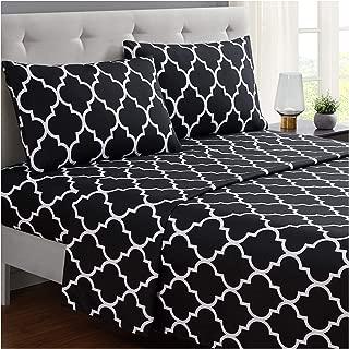 Mellanni Bed Sheet Set Full-Black - Brushed Microfiber Printed Bedding - Deep Pocket, Wrinkle, Fade, Stain Resistant - 4 Piece (Full, Quatrefoil Black)