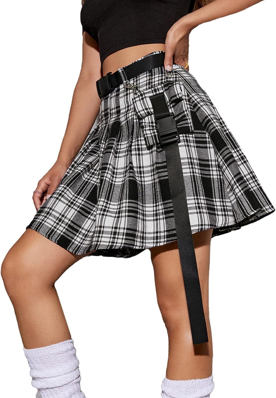 Milumia Women's Plaid A Line Short Skirt Buckle Belted Flap Pocket Skater Skirt
