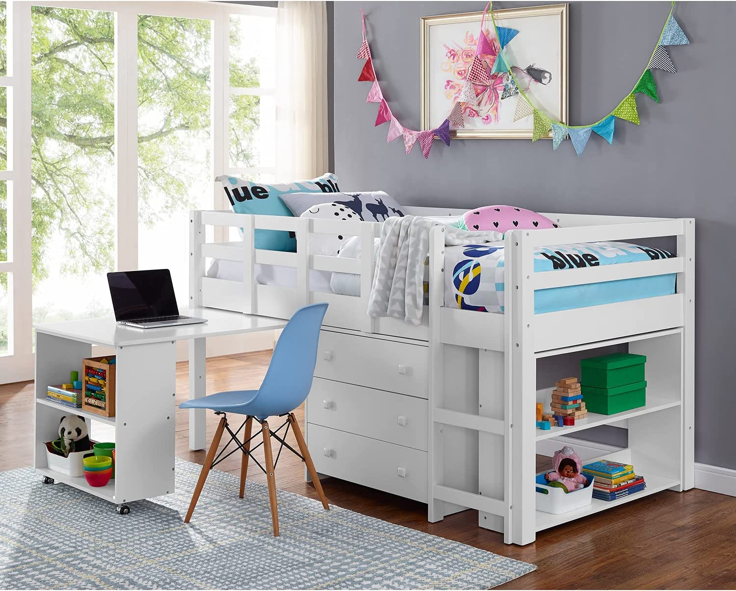 Naomi Home Low Study Twin Bed Easy-to-use Loft White It is very popular