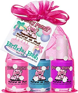 Piggy Paint 100% Non-Toxic Girls Nail Polish - Safe, Chemical Free Low Odor for Kids, Gift Set, Birthday Bash - Stocking S...