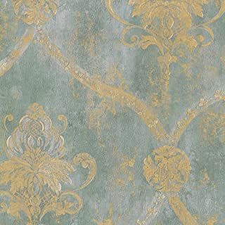 CS27331 - Classic Silks 3 Damask Aqua Gold Galerie Wallpaper