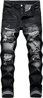 Men's Ripped Jeans Distressed Straight Slim Fit Casual Denim Pants