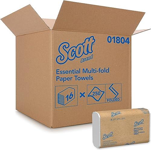 Scott 1804 Essuie-mains enchevêtrés Multifold, 16 paquets de 250 feuilles en papier, Technologie absorbante Airflex ,...