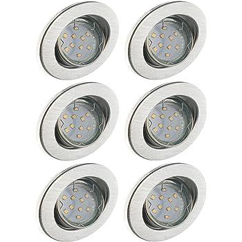 Ceiling spotlights Trango Set of 6 Recessed spotlights in Chrome Square TG6729-068S Bathroom recessed Spots Toilet recessed Lights Ceiling Light incl 6X GU10 Ceramic Socket
