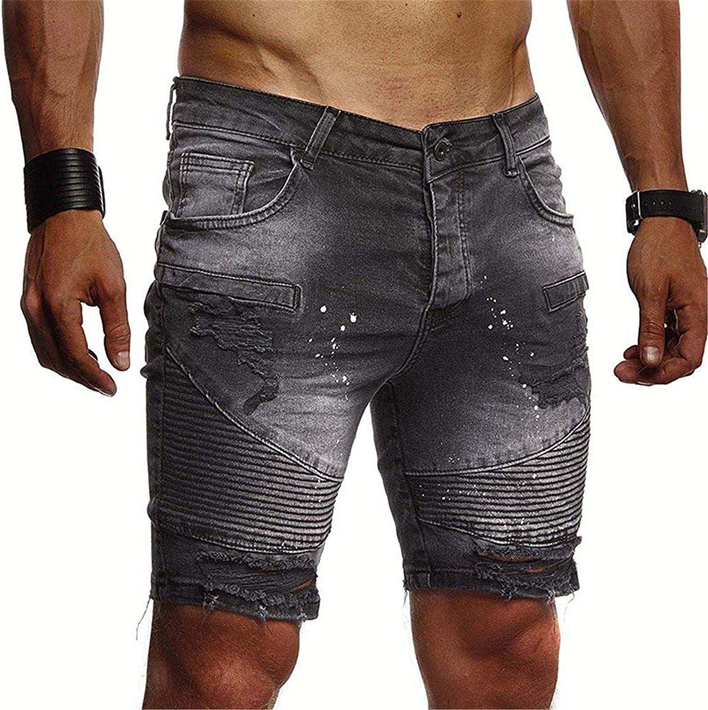 Yiqinyuan Fashion Men's Street Ripped Biker Short Jeans Streetwear Destroyed Motorcycle Denim Shorts Washed Jean Shorts