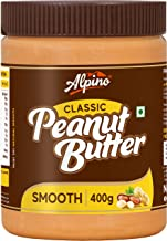 Alpino Classic Peanut Butter Smooth 400 G | Made with High Quality Roasted Peanuts | 100% Non-GMO | Gluten-Free | Vegan