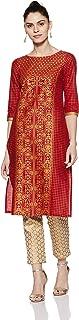 Buy Aurelia Women s Straight Kurta (18AUA10072-100255_Red_X-Small) at Amazon.in