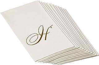 مناديل 2900GG.H من Caspari مع لؤلؤ أبيض وذهب من الورق الكتاني في صندوق هدايا على شكل حرف H - عبوة من 24 منديل