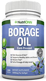 Borage Oil - 1000 mg - 180 Softgels - Cold Pressed High GLA Borage Seed Oil - Hexane and PA Free - Great for Skin, Joints ...
