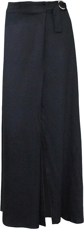 Attuendo Women's Warp Effect Maxi Skirt with Long Slit and Belt