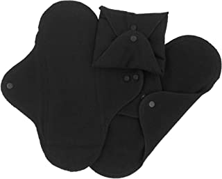 Imse Vimse Reusable Organic Cotton Menstrual Pads with Wings, 3 Pack (Regular, Black)…
