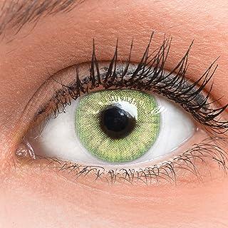 GLAMLENS lentillas de colores verdes Jasmine Light Green + contenedor. 1 par (2 piezas) - 90 Días - Sin Graduación - 0.00 dioptrías - blandos - Lentes de contacto verde de hidrogel de silicona