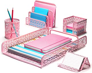 Hudstill Pink Cute Desk Organizer Set for Women and Girls in Art Deco Design with 5 Office Supplies Accessories : File Tra...