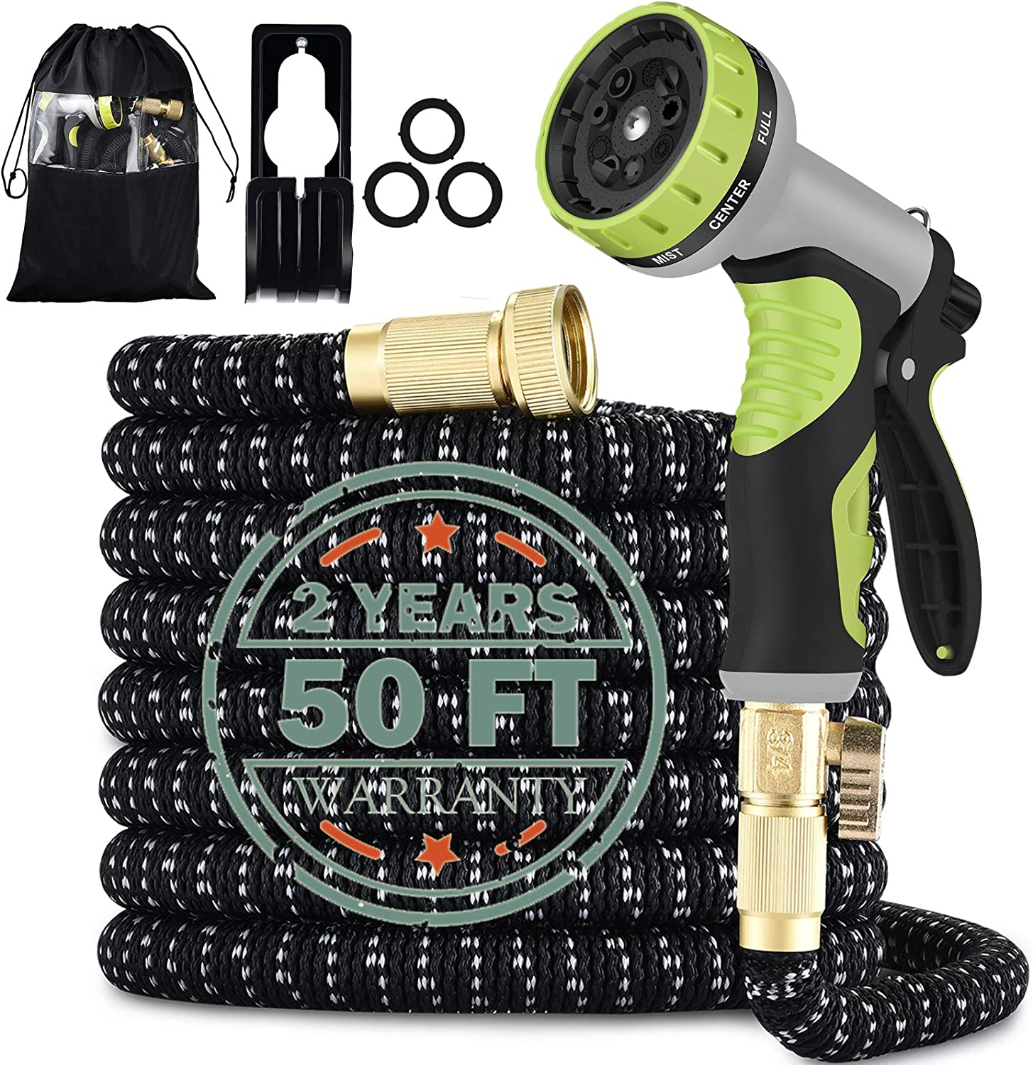 Expandable Garden Hose 50FT with 9 Function Nozzle, Leakproof Lightweight Expanding Garden Water Hose with Solid Brass Fittings, Extra Strength 3750D Durable Gardening Flexible Hose.(50FT)