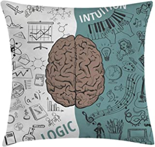 Ambesonne Modern Throw Pillow Cushion Cover, Brain Image with Left and Right Side Music Logic Artwork Side Science Print, Decorative Square Accent Pillow Case, 18