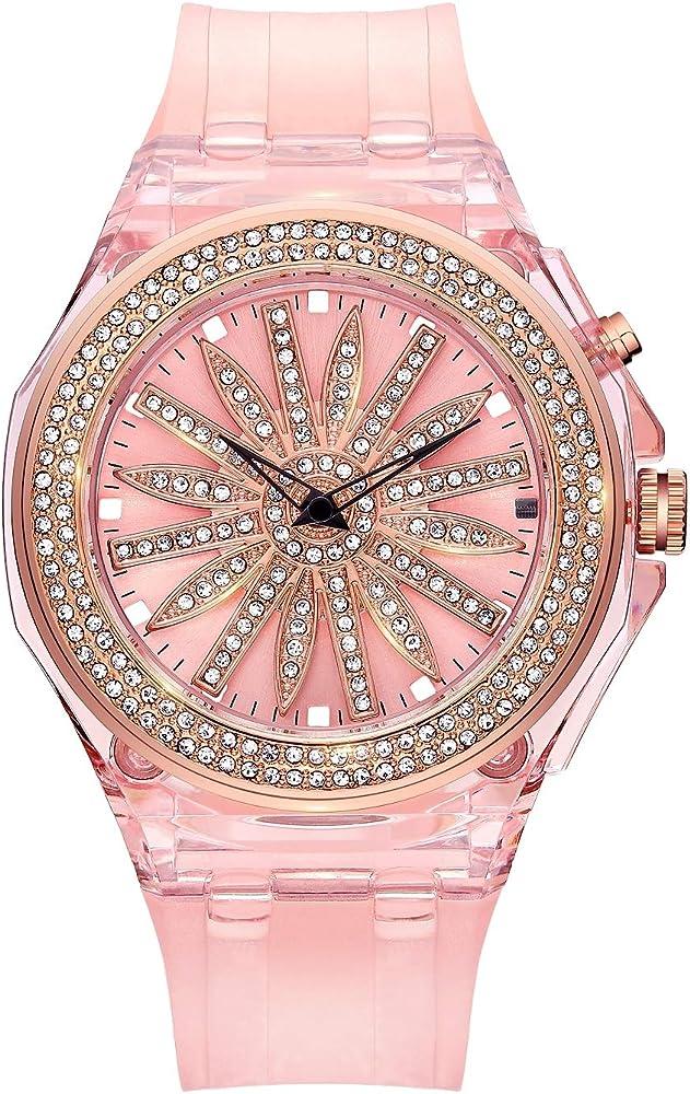Rocos, orologio al quarzo da donna con cinturino in silicone e cassa in acciaio R0213L