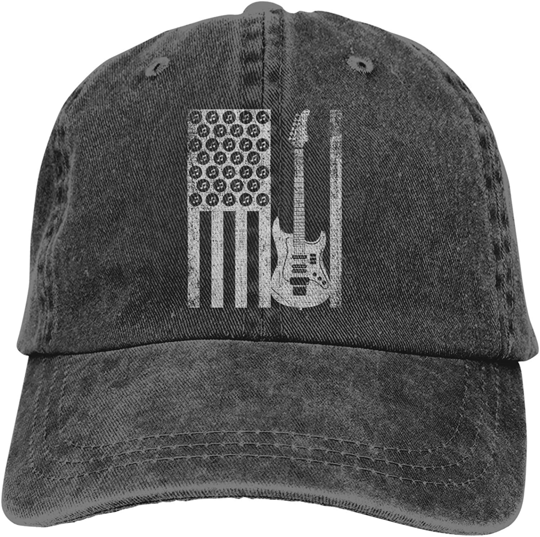 Electric Bass Guitar American Flag Hats for Men Women Vintage Baseball Cap Beach Dad Sun Hat Black