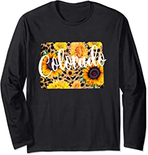 Colorado Sunflower Leopard Print Wildflower State Map Long Sleeve T-Shirt