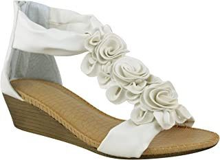 62cd91c581 WOMENS LADIES SUMMER SANDALS STRAPPY FLOWER LOW HEEL FLAT WEDGE SHOES SIZE
